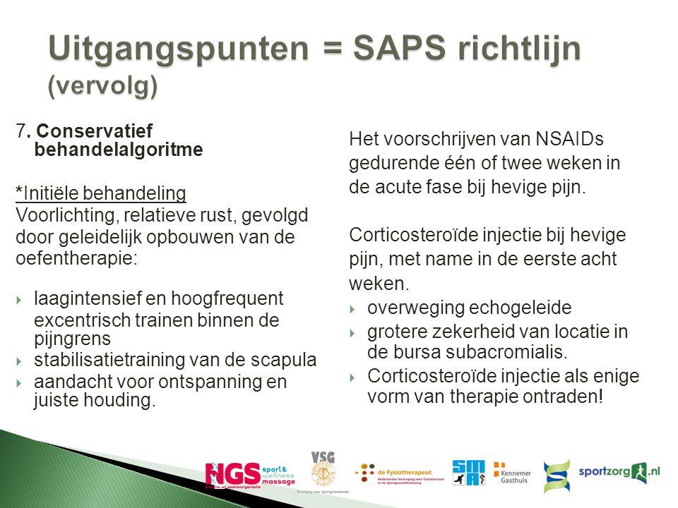 Uitgangspunten = SAPS richtlijn (vervolg) 7. Conservatief behandelalgoritme *Initiële behandeling Voorlichting, relatieve rust, gevolgd door geleideli