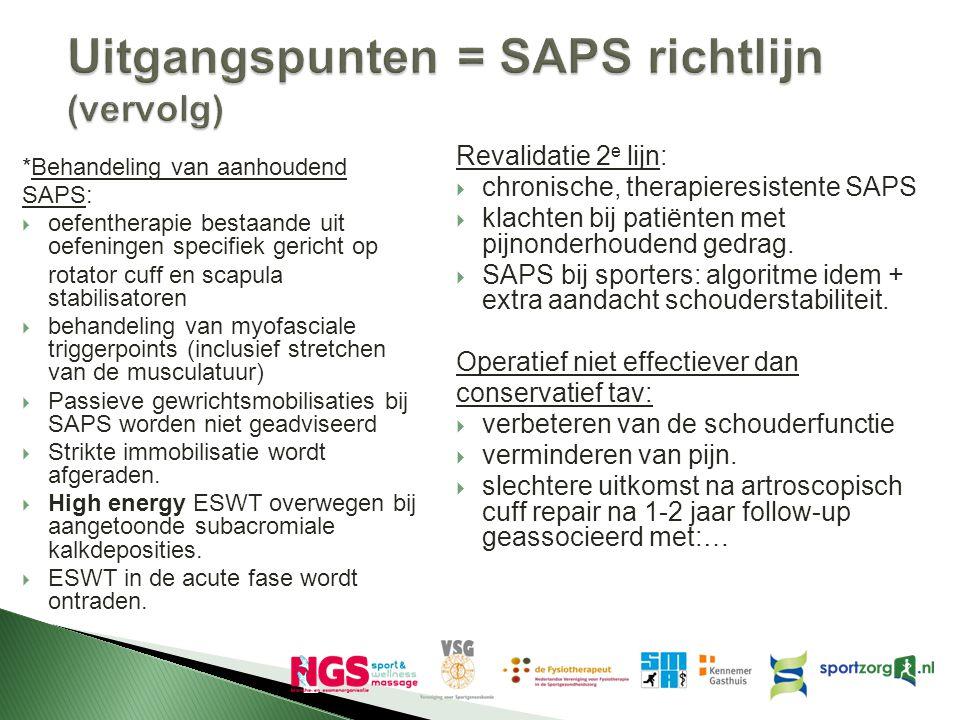 Uitgangspunten = SAPS richtlijn (vervolg) *Behandeling van aanhoudend SAPS:  oefentherapie bestaande uit oefeningen specifiek gericht op rotator cuff