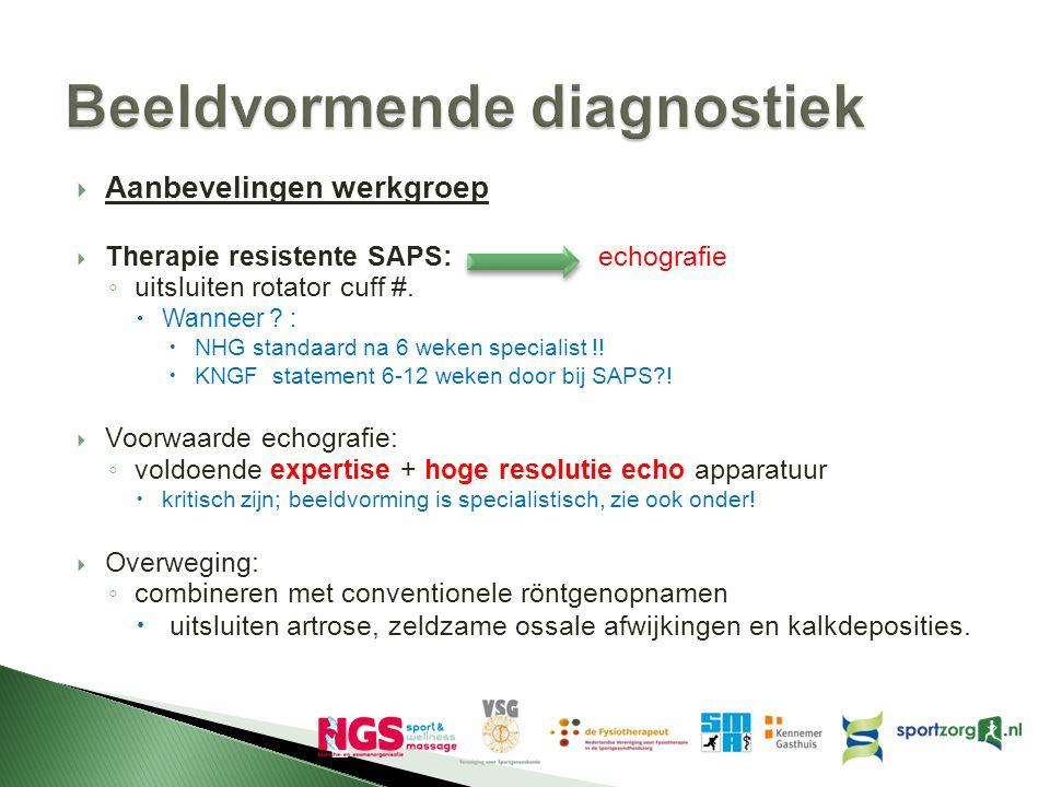  Aanbevelingen werkgroep  Therapie resistente SAPS: echografie ◦ uitsluiten rotator cuff #.  Wanneer ? :  NHG standaard na 6 weken specialist !! 