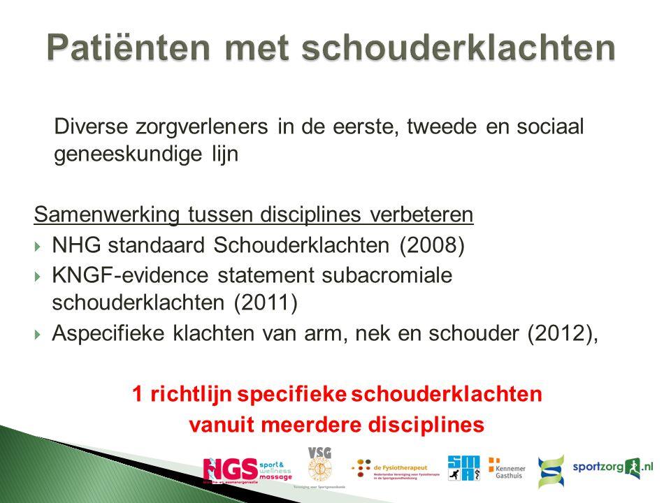 Diverse zorgverleners in de eerste, tweede en sociaal geneeskundige lijn Samenwerking tussen disciplines verbeteren  NHG standaard Schouderklachten (