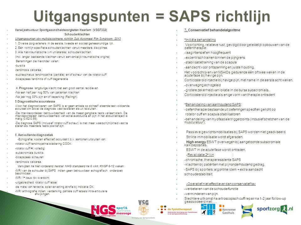 Uitgangspunten = SAPS richtlijn  Verwijsstructuur Sportgezondheidszorgketen Haarlem (VSG7332)  Schouderklachten  Uitgangspunten obv multidisciplina
