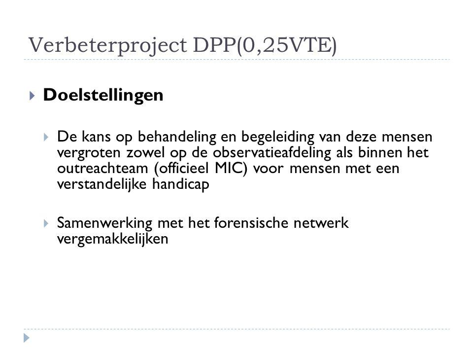 Verbeterproject DPP(0,25VTE)  Doelstellingen  De kans op behandeling en begeleiding van deze mensen vergroten zowel op de observatieafdeling als bin