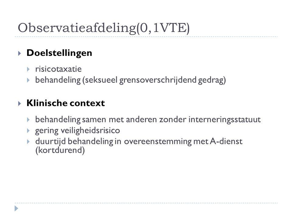 Observatieafdeling(0,1VTE)  Doelstellingen  risicotaxatie  behandeling (seksueel grensoverschrijdend gedrag)  Klinische context  behandeling same