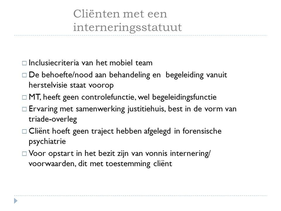 Cliënten met een interneringsstatuut  Inclusiecriteria van het mobiel team  De behoefte/nood aan behandeling en begeleiding vanuit herstelvisie staa