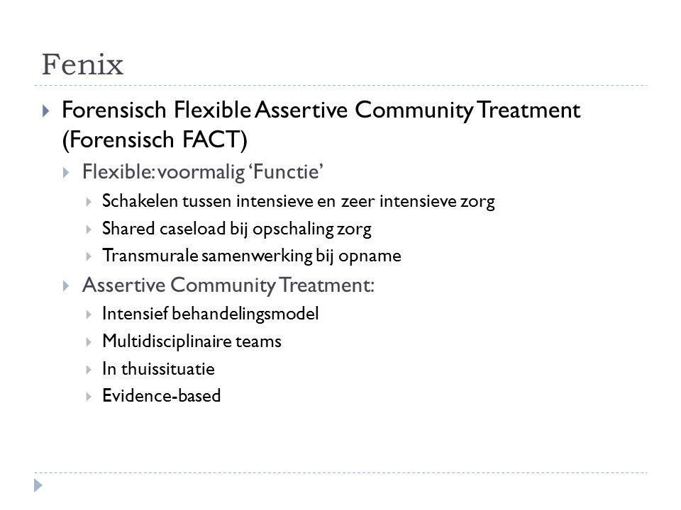 Fenix  Forensisch Flexible Assertive Community Treatment (Forensisch FACT)  Flexible: voormalig 'Functie'  Schakelen tussen intensieve en zeer inte