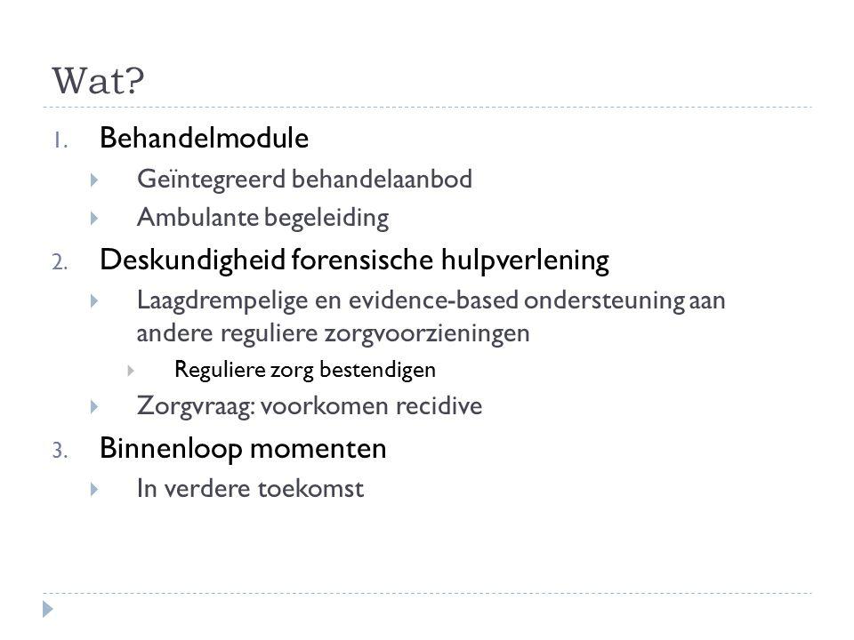 Wat? 1. Behandelmodule  Geïntegreerd behandelaanbod  Ambulante begeleiding 2. Deskundigheid forensische hulpverlening  Laagdrempelige en evidence-b
