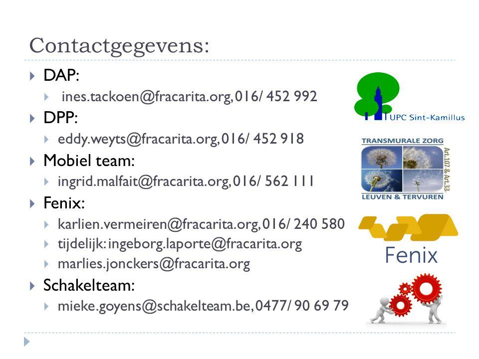 Contactgegevens:  DAP:  ines.tackoen@fracarita.org, 016/ 452 992  DPP:  eddy.weyts@fracarita.org, 016/ 452 918  Mobiel team:  ingrid.malfait@fra
