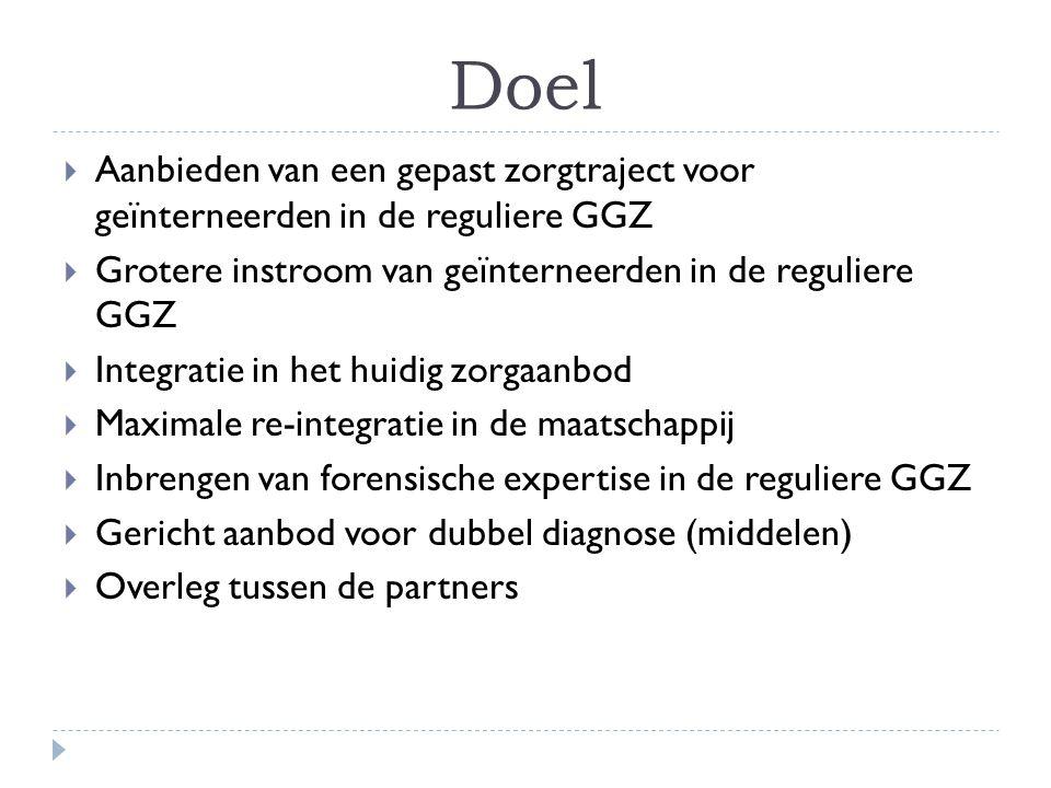 Doel  Aanbieden van een gepast zorgtraject voor geïnterneerden in de reguliere GGZ  Grotere instroom van geïnterneerden in de reguliere GGZ  Integr