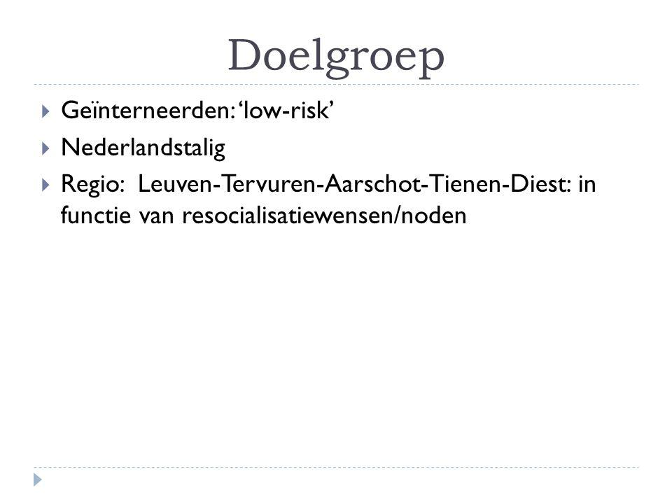 Doelgroep  Geïnterneerden: 'low-risk'  Nederlandstalig  Regio: Leuven-Tervuren-Aarschot-Tienen-Diest: in functie van resocialisatiewensen/noden