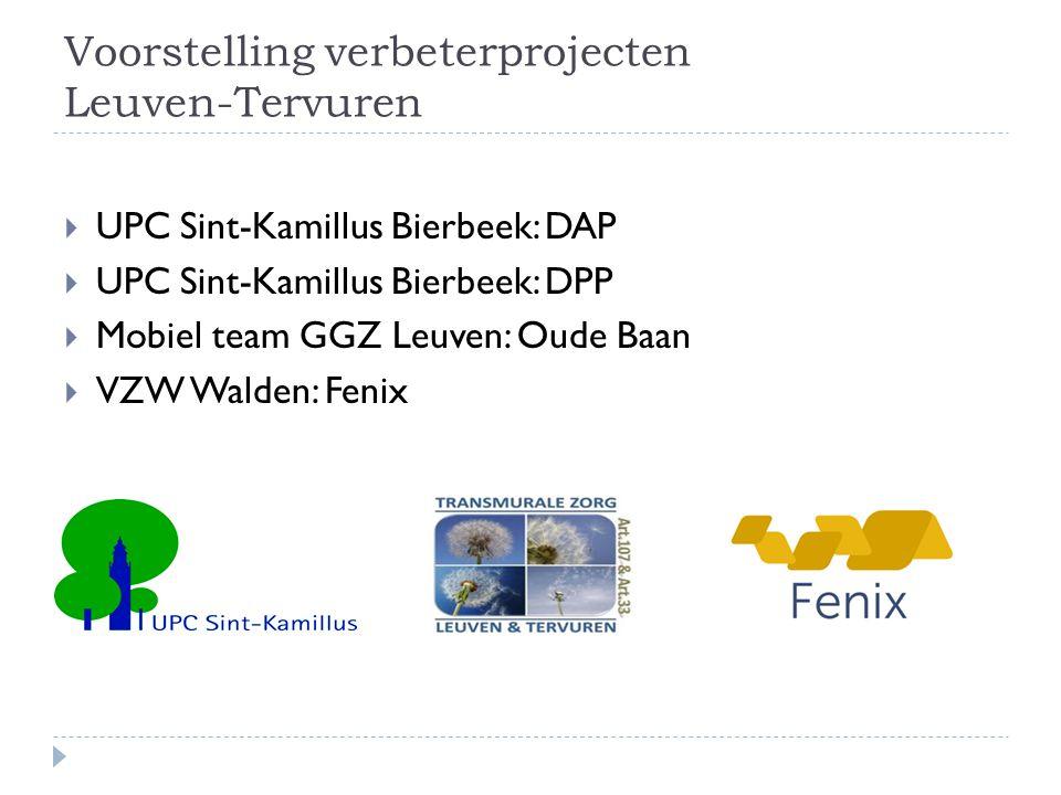 Voorstelling verbeterprojecten Leuven-Tervuren  UPC Sint-Kamillus Bierbeek: DAP  UPC Sint-Kamillus Bierbeek: DPP  Mobiel team GGZ Leuven: Oude Baan