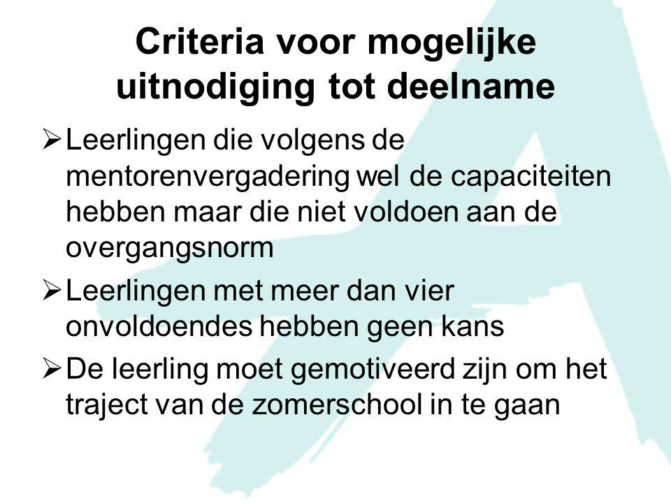 Criteria voor mogelijke uitnodiging tot deelname  Leerlingen die volgens de mentorenvergadering wel de capaciteiten hebben maar die niet voldoen aan