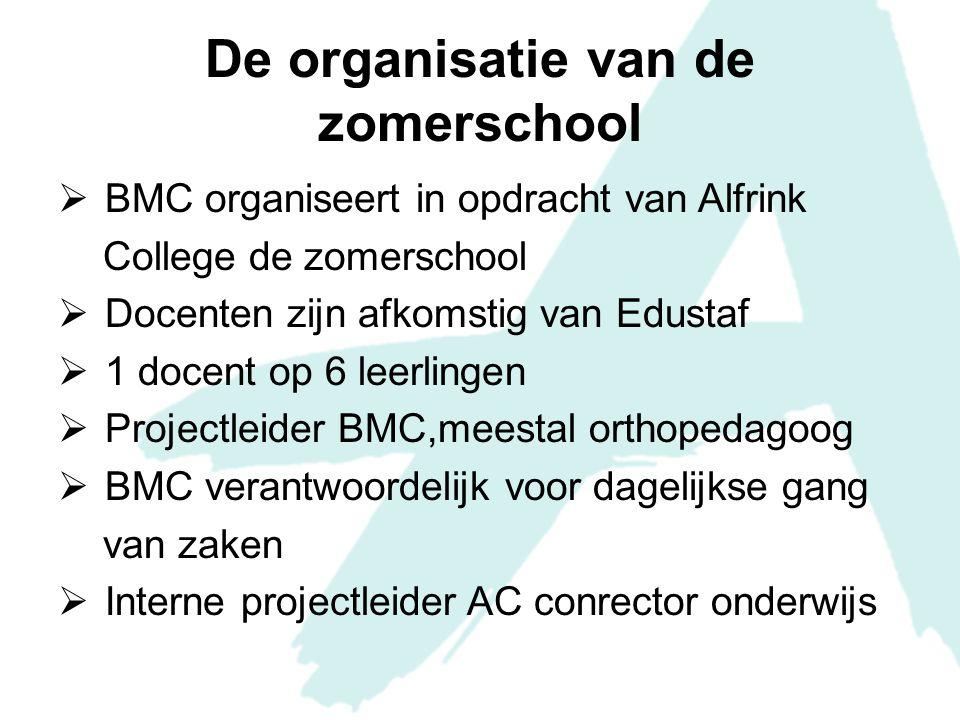 De organisatie van de zomerschool  BMC organiseert in opdracht van Alfrink College de zomerschool  Docenten zijn afkomstig van Edustaf  1 docent op