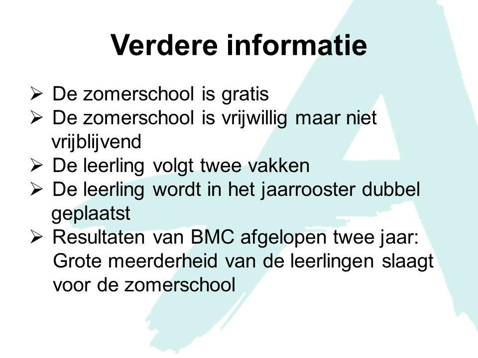 Voorbereiding binnen school  Overleg met BMC over aantal leerlingen en welke vakken  Boeken en materialen  Vastleggen lokalen  Zorgen voor toegang tot ICT-voorzieningen  Afhankelijk van aantal leerlingen kan er een samenwerking komen met het Erasmus College