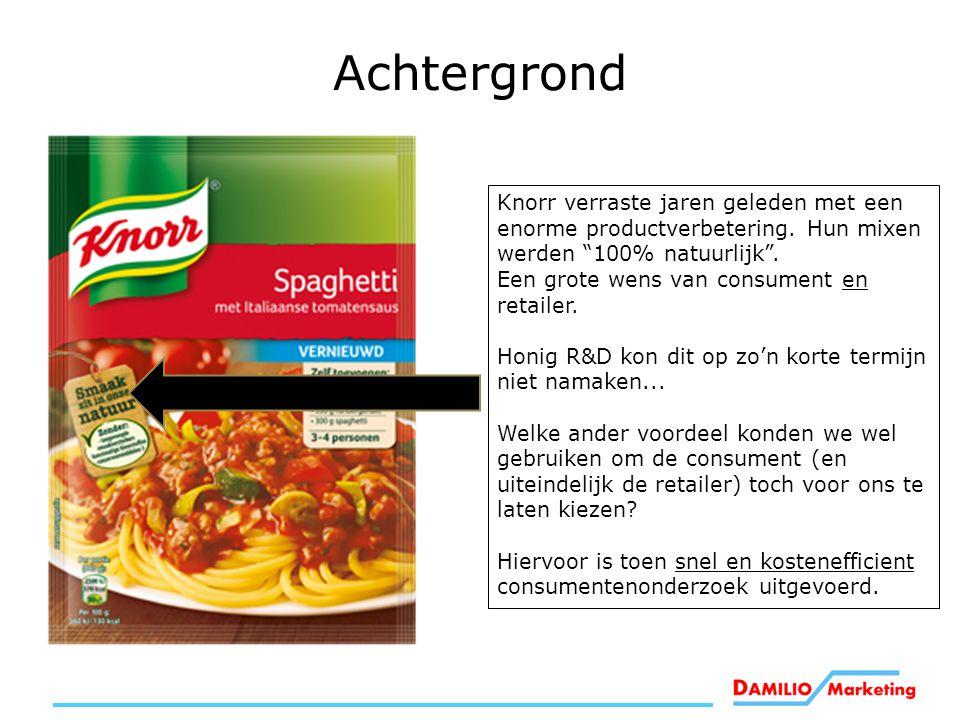 """Knorr verraste jaren geleden met een enorme productverbetering. Hun mixen werden """"100% natuurlijk"""". Een grote wens van consument en retailer. Honig R&"""