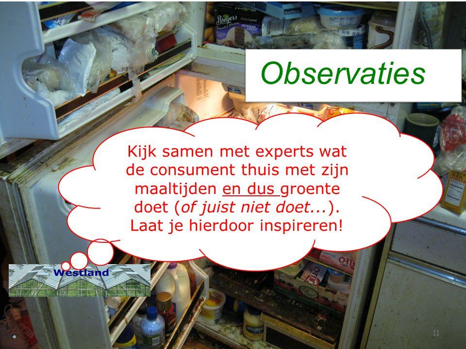 Observaties 11 Kijk samen met experts wat de consument thuis met zijn maaltijden en dus groente doet (of juist niet doet...). Laat je hierdoor inspire