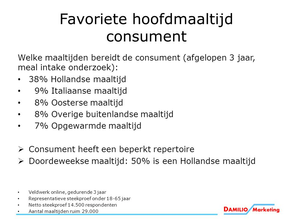 Favoriete hoofdmaaltijd consument Welke maaltijden bereidt de consument (afgelopen 3 jaar, meal intake onderzoek): 38% Hollandse maaltijd 9% Italiaans