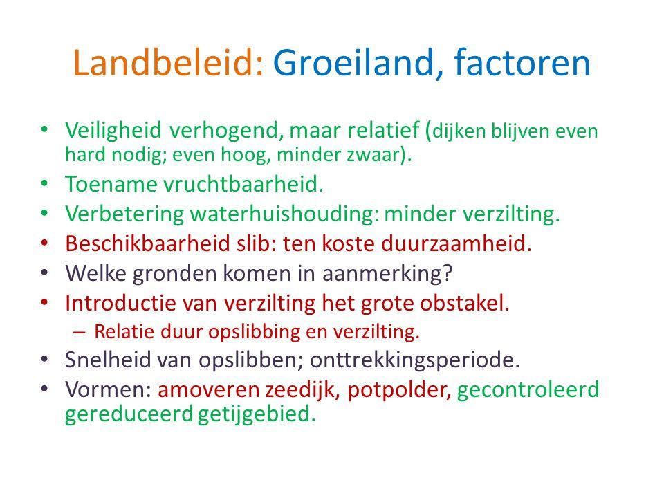 Landbeleid: Groeiland, factoren Veiligheid verhogend, maar relatief ( dijken blijven even hard nodig; even hoog, minder zwaar). Toename vruchtbaarheid
