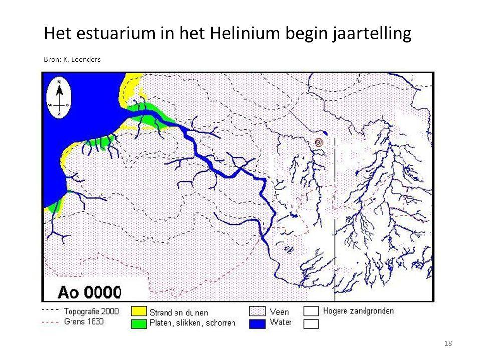 Het estuarium in het Helinium begin jaartelling Bron: K. Leenders Stippellijnen: huidige Zuidwestelijke Delta 18