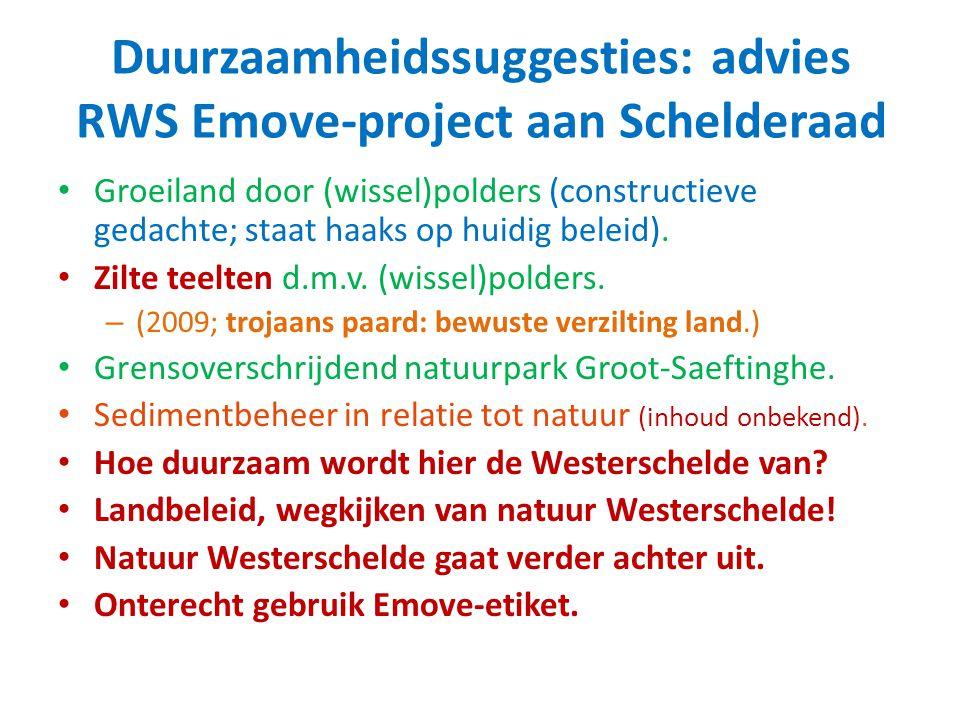 Duurzaamheidssuggesties: advies RWS Emove-project aan Schelderaad Groeiland door (wissel)polders (constructieve gedachte; staat haaks op huidig beleid