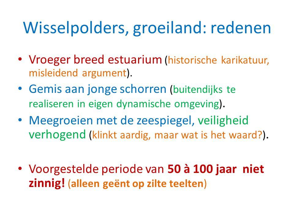 Wisselpolders, groeiland: redenen Vroeger breed estuarium (historische karikatuur, misleidend argument). Gemis aan jonge schorren (buitendijks te real