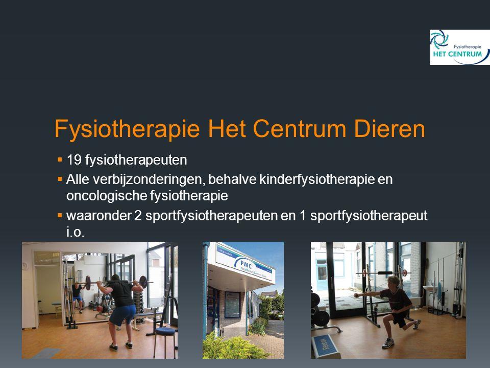 Fysiotherapie Het Centrum Dieren  19 fysiotherapeuten  Alle verbijzonderingen, behalve kinderfysiotherapie en oncologische fysiotherapie  waaronder 2 sportfysiotherapeuten en 1 sportfysiotherapeut i.o.