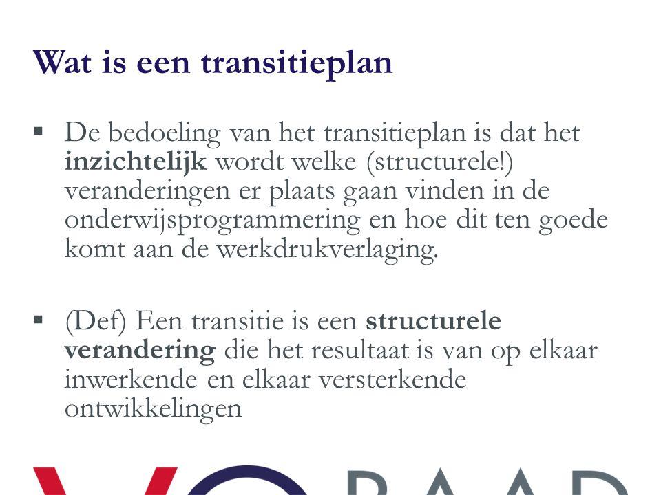 Wat is een transitieplan  De bedoeling van het transitieplan is dat het inzichtelijk wordt welke (structurele!) veranderingen er plaats gaan vinden i