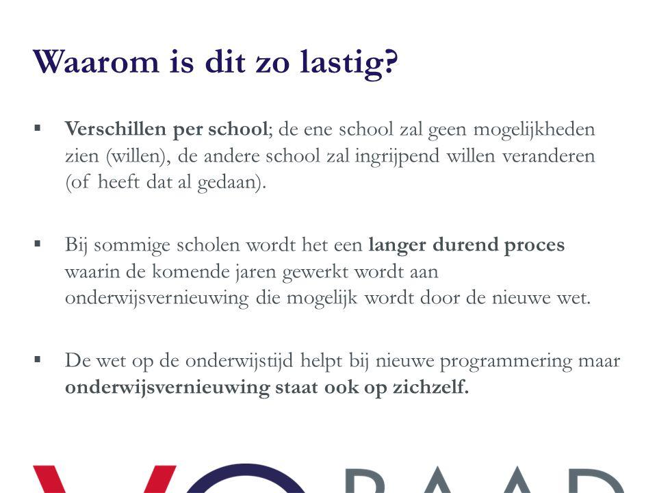 Waarom is dit zo lastig?  Verschillen per school; de ene school zal geen mogelijkheden zien (willen), de andere school zal ingrijpend willen verander