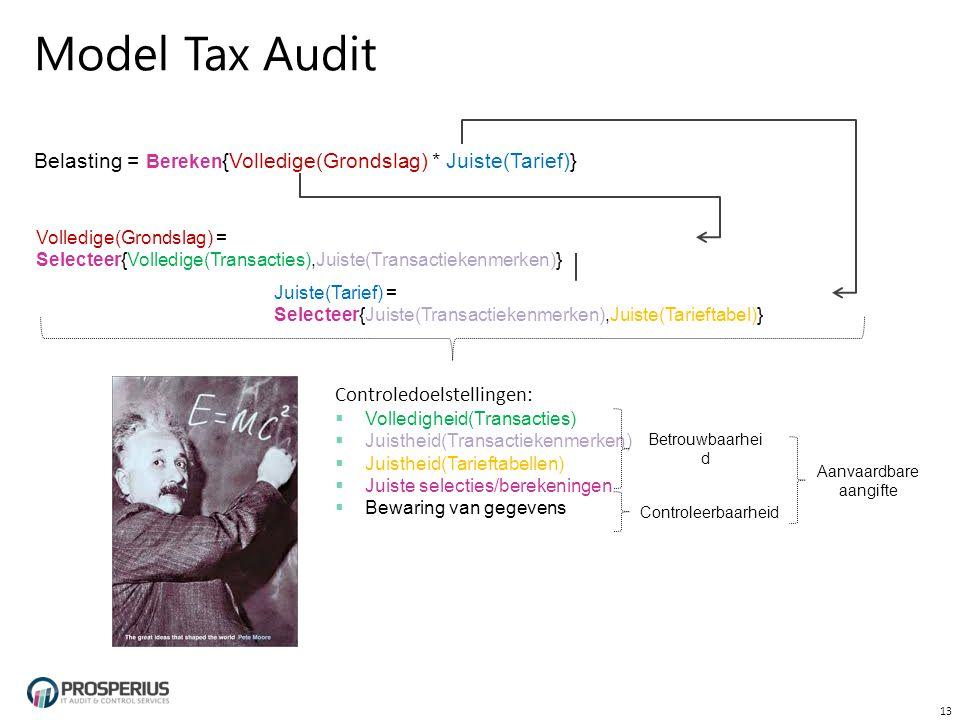 Model Tax Audit Belasting = Bereken {Volledige(Grondslag) * Juiste(Tarief)} 13 Volledige(Grondslag) = Selecteer{Volledige(Transacties),Juiste(Transactiekenmerken)} Juiste(Tarief) = Selecteer{Juiste(Transactiekenmerken),Juiste(Tarieftabel)} Controledoelstellingen:  Volledigheid(Transacties)  Juistheid(Transactiekenmerken)  Juistheid(Tarieftabellen)  Juiste selecties/berekeningen  Bewaring van gegevens Betrouwbaarhei d Controleerbaarheid Aanvaardbare aangifte