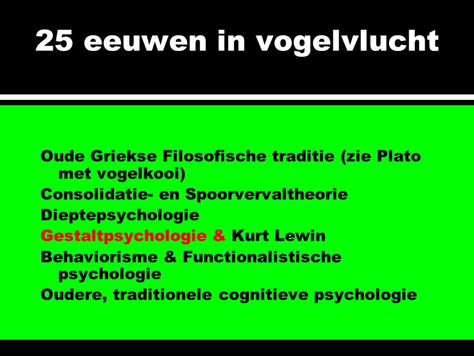Oude Griekse Filosofische traditie (zie Plato met vogelkooi) Consolidatie- en Spoorvervaltheorie Dieptepsychologie Gestaltpsychologie & Kurt Lewin Beh