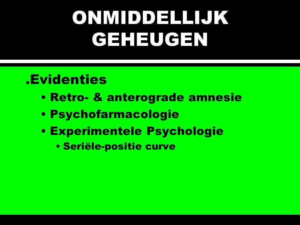 ONMIDDELLIJK GEHEUGEN.Evidenties Retro- & anterograde amnesie Psychofarmacologie Experimentele Psychologie Seriële-positie curve