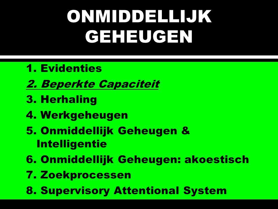 ONMIDDELLIJK GEHEUGEN 1.Evidenties 2. Beperkte Capaciteit 3.