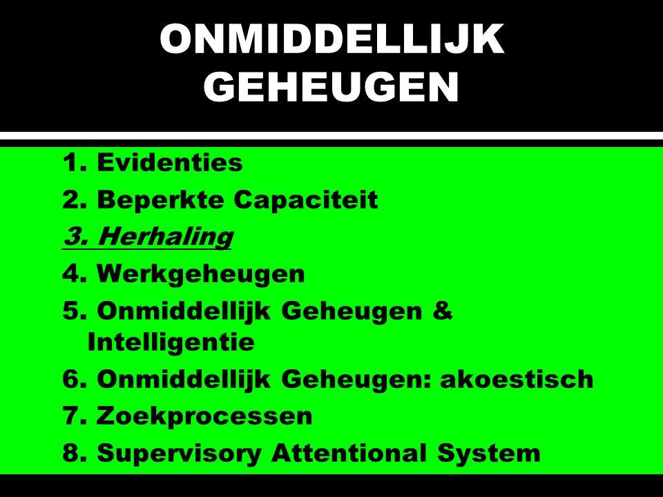ONMIDDELLIJK GEHEUGEN 1. Evidenties 2. Beperkte Capaciteit 3. Herhaling 4. Werkgeheugen 5. Onmiddellijk Geheugen & Intelligentie 6. Onmiddellijk Geheu