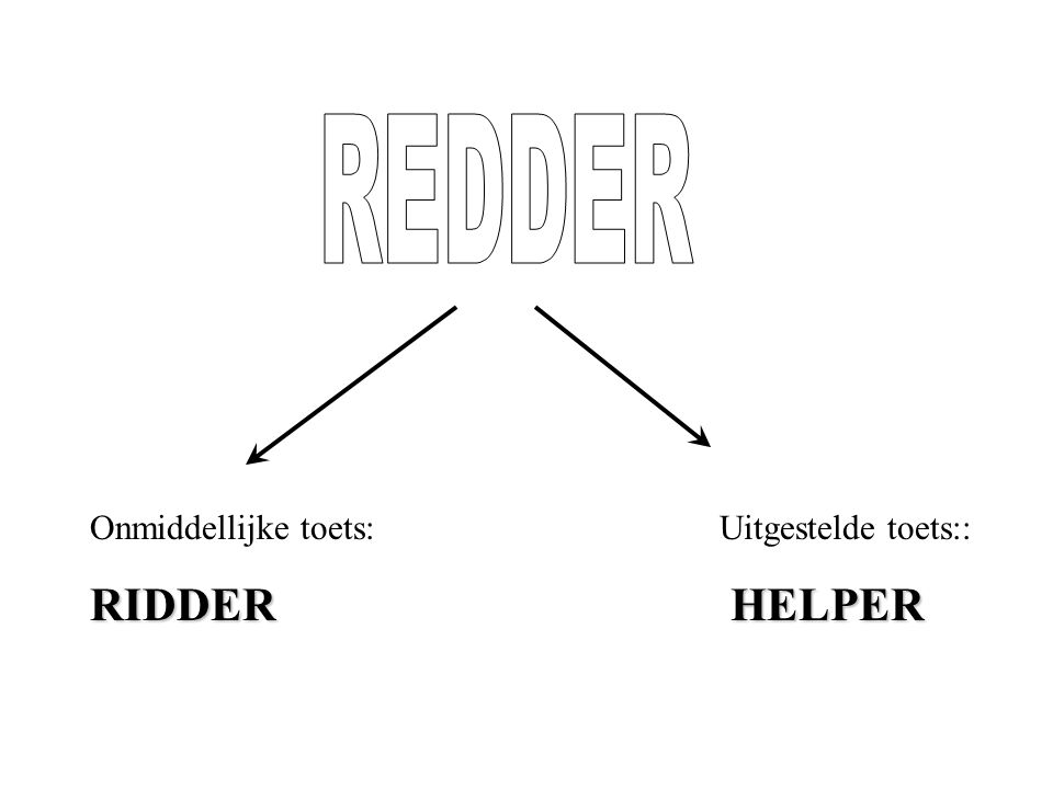 Onmiddellijke toets: Uitgestelde toets:: RIDDER HELPER