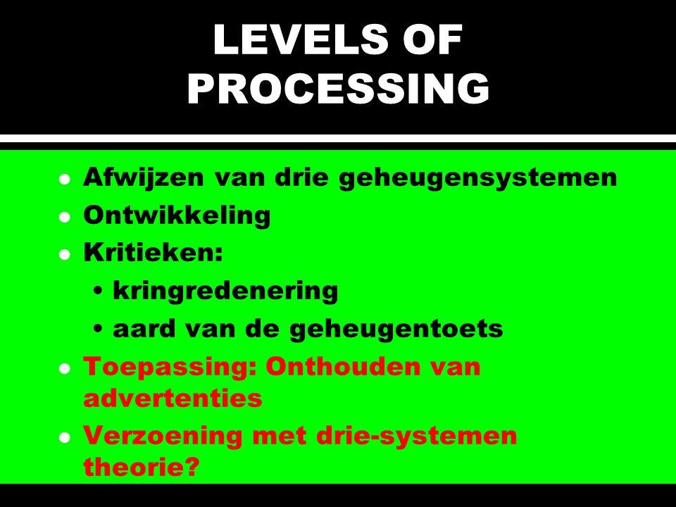 LEVELS OF PROCESSING l Afwijzen van drie geheugensystemen l Ontwikkeling l Kritieken: kringredenering aard van de geheugentoets l Toepassing: Onthoude