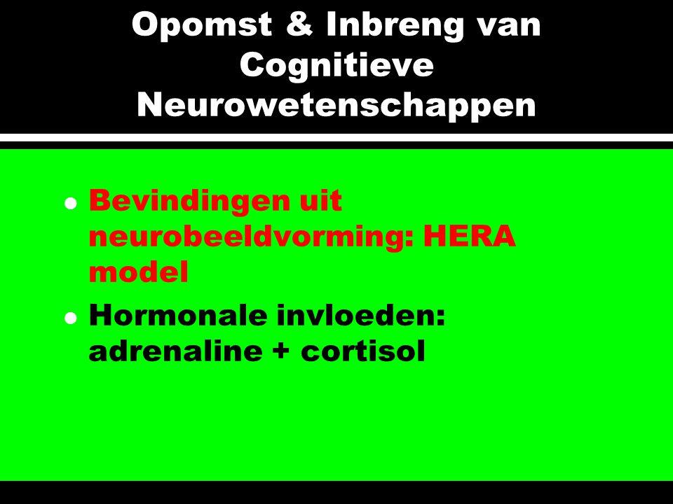 Opomst & Inbreng van Cognitieve Neurowetenschappen l Bevindingen uit neurobeeldvorming: HERA model l Hormonale invloeden: adrenaline + cortisol