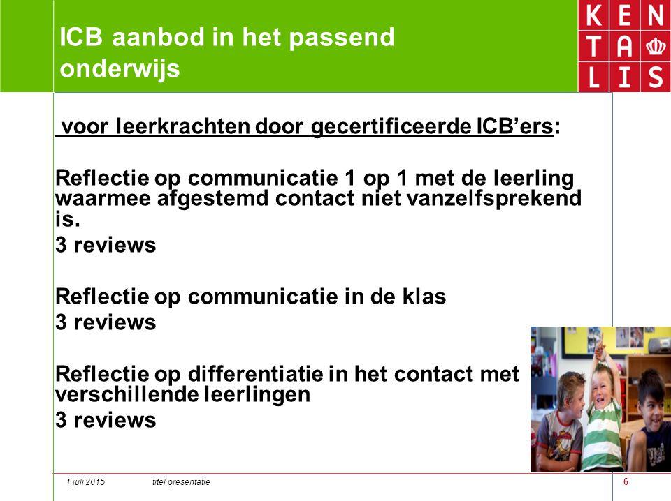 6 ICB aanbod in het passend onderwijs voor leerkrachten door gecertificeerde ICB'ers: Reflectie op communicatie 1 op 1 met de leerling waarmee afgeste