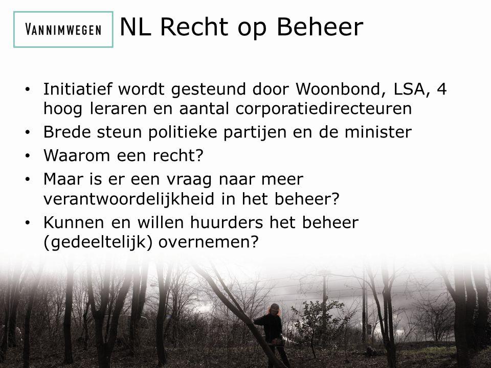NL Recht op Beheer Initiatief wordt gesteund door Woonbond, LSA, 4 hoog leraren en aantal corporatiedirecteuren Brede steun politieke partijen en de minister Waarom een recht.