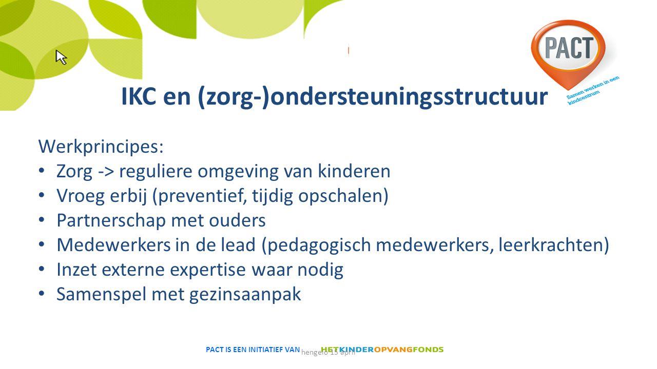 PACT IS EEN INITIATIEF VAN IKC en (zorg-)ondersteuningsstructuur Werkprincipes: Zorg -> reguliere omgeving van kinderen Vroeg erbij (preventief, tijdi
