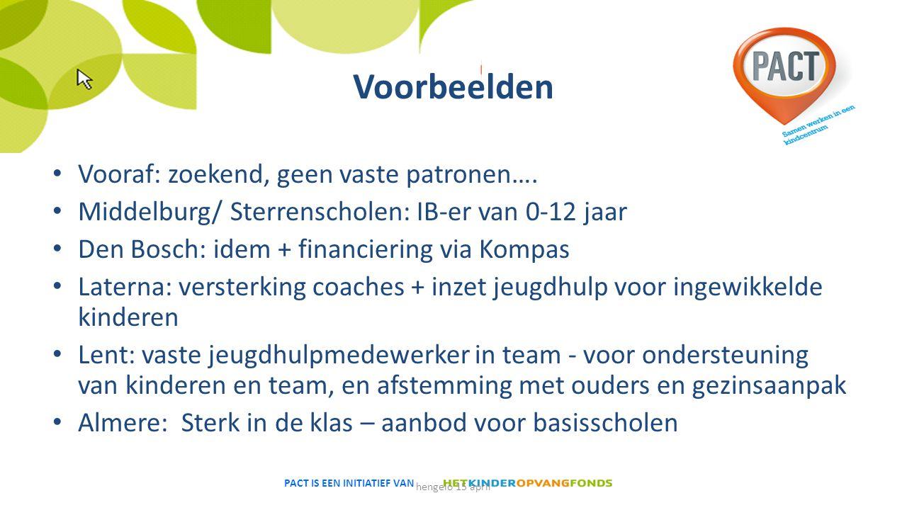 PACT IS EEN INITIATIEF VAN Voorbeelden Vooraf: zoekend, geen vaste patronen…. Middelburg/ Sterrenscholen: IB-er van 0-12 jaar Den Bosch: idem + financ