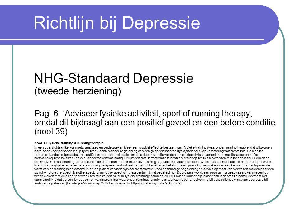 Richtlijn bij Depressie NHG-Standaard Depressie (tweede herziening) Pag.