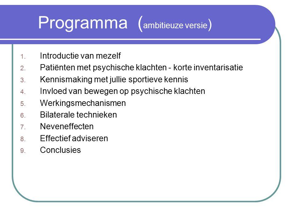 Programma ( ambitieuze versie ) 1.Introductie van mezelf 2.