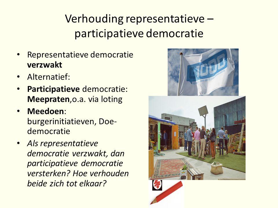 Verhouding representatieve – participatieve democratie Representatieve democratie verzwakt Alternatief: Participatieve democratie: Meepraten,o.a.