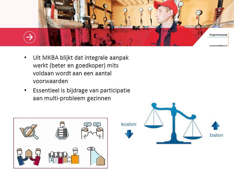 Uit MKBA blijkt dat integrale aanpak werkt (beter en goedkoper) mits voldaan wordt aan een aantal voorwaarden Essentieel is bijdrage van participatie aan multi-probleem gezinnen
