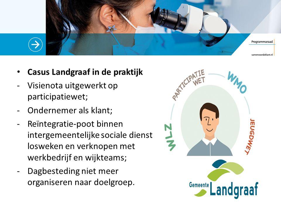 Casus Landgraaf in de praktijk -Visienota uitgewerkt op participatiewet; -Ondernemer als klant; -Reïntegratie-poot binnen intergemeentelijke sociale dienst losweken en verknopen met werkbedrijf en wijkteams; -Dagbesteding niet meer organiseren naar doelgroep.