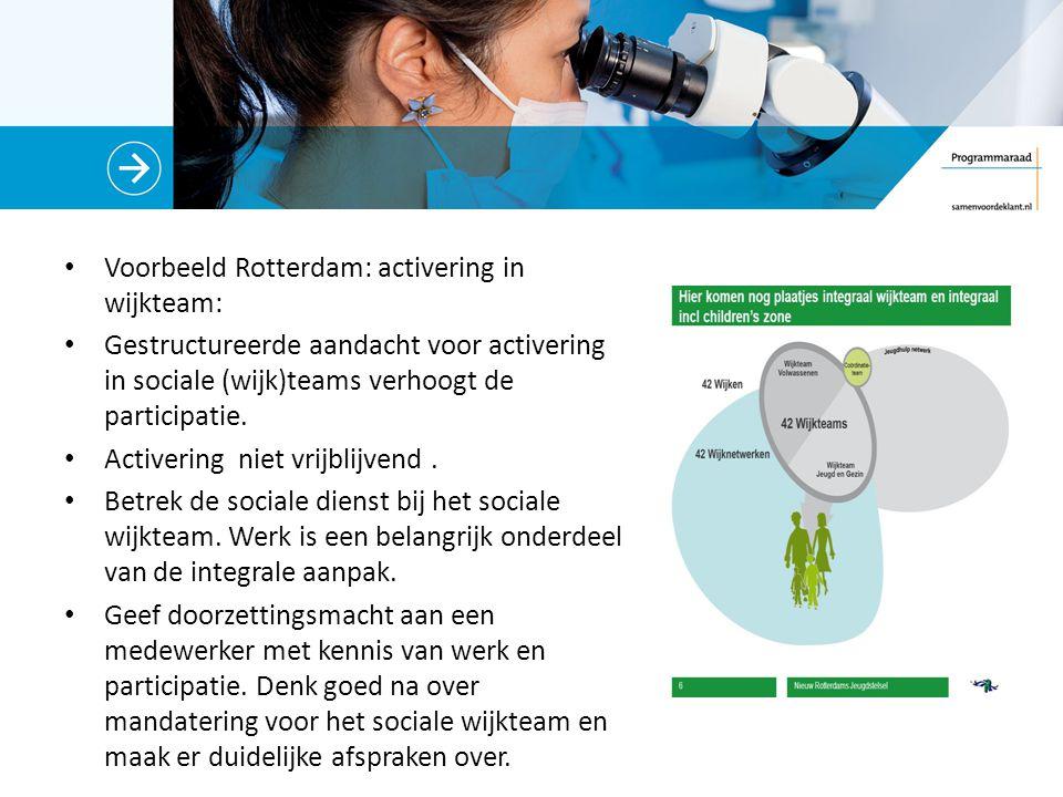 Voorbeeld Rotterdam: activering in wijkteam: Gestructureerde aandacht voor activering in sociale (wijk)teams verhoogt de participatie.