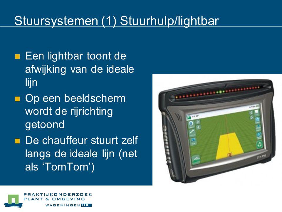 Stuursystemen (1) Stuurhulp/lightbar Een lightbar toont de afwijking van de ideale lijn Op een beeldscherm wordt de rijrichting getoond De chauffeur stuurt zelf langs de ideale lijn (net als 'TomTom')