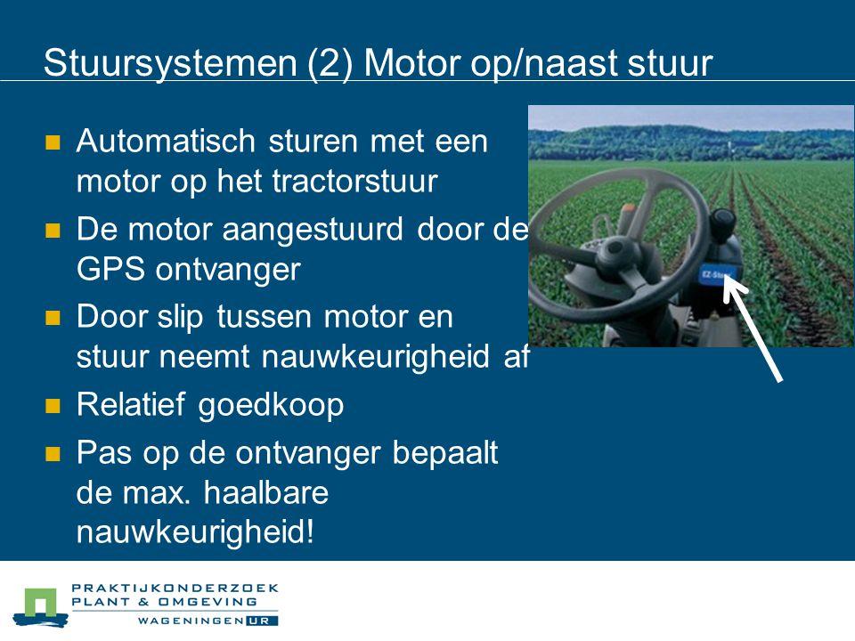 Stuursystemen (2) Motor op/naast stuur Automatisch sturen met een motor op het tractorstuur De motor aangestuurd door de GPS ontvanger Door slip tussen motor en stuur neemt nauwkeurigheid af Relatief goedkoop Pas op de ontvanger bepaalt de max.