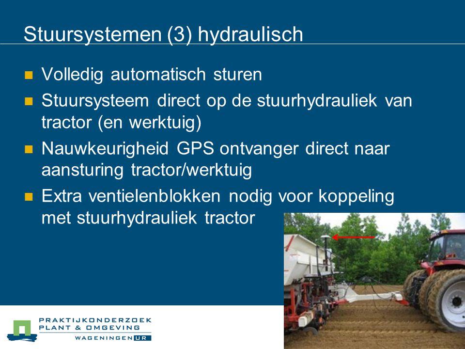 Stuursystemen (3) hydraulisch Volledig automatisch sturen Stuursysteem direct op de stuurhydrauliek van tractor (en werktuig) Nauwkeurigheid GPS ontvanger direct naar aansturing tractor/werktuig Extra ventielenblokken nodig voor koppeling met stuurhydrauliek tractor