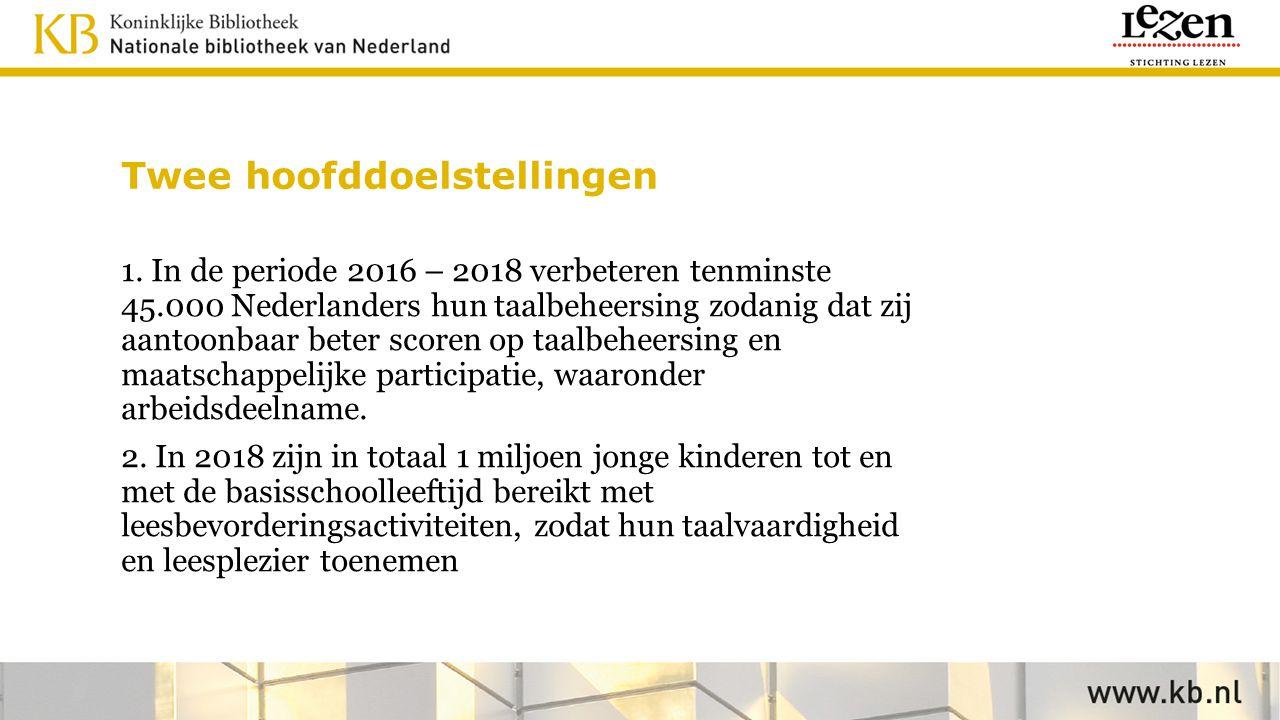 Twee hoofddoelstellingen 1. In de periode 2016 – 2018 verbeteren tenminste 45.000 Nederlanders hun taalbeheersing zodanig dat zij aantoonbaar beter sc