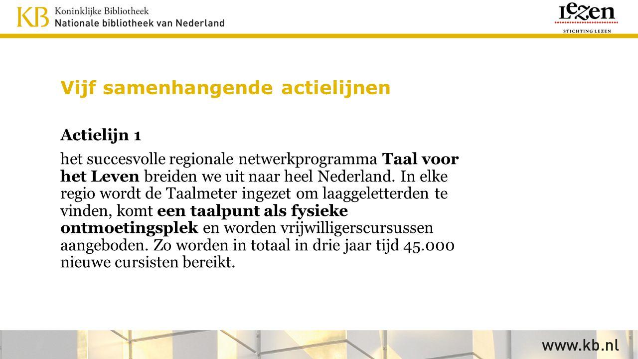 Vijf samenhangende actielijnen Actielijn 1 het succesvolle regionale netwerkprogramma Taal voor het Leven breiden we uit naar heel Nederland. In elke